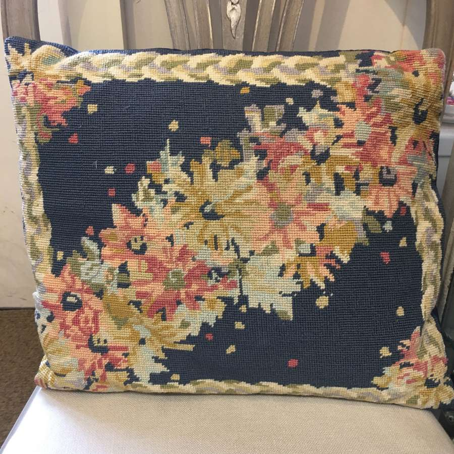 Blue floral tapestry cushion