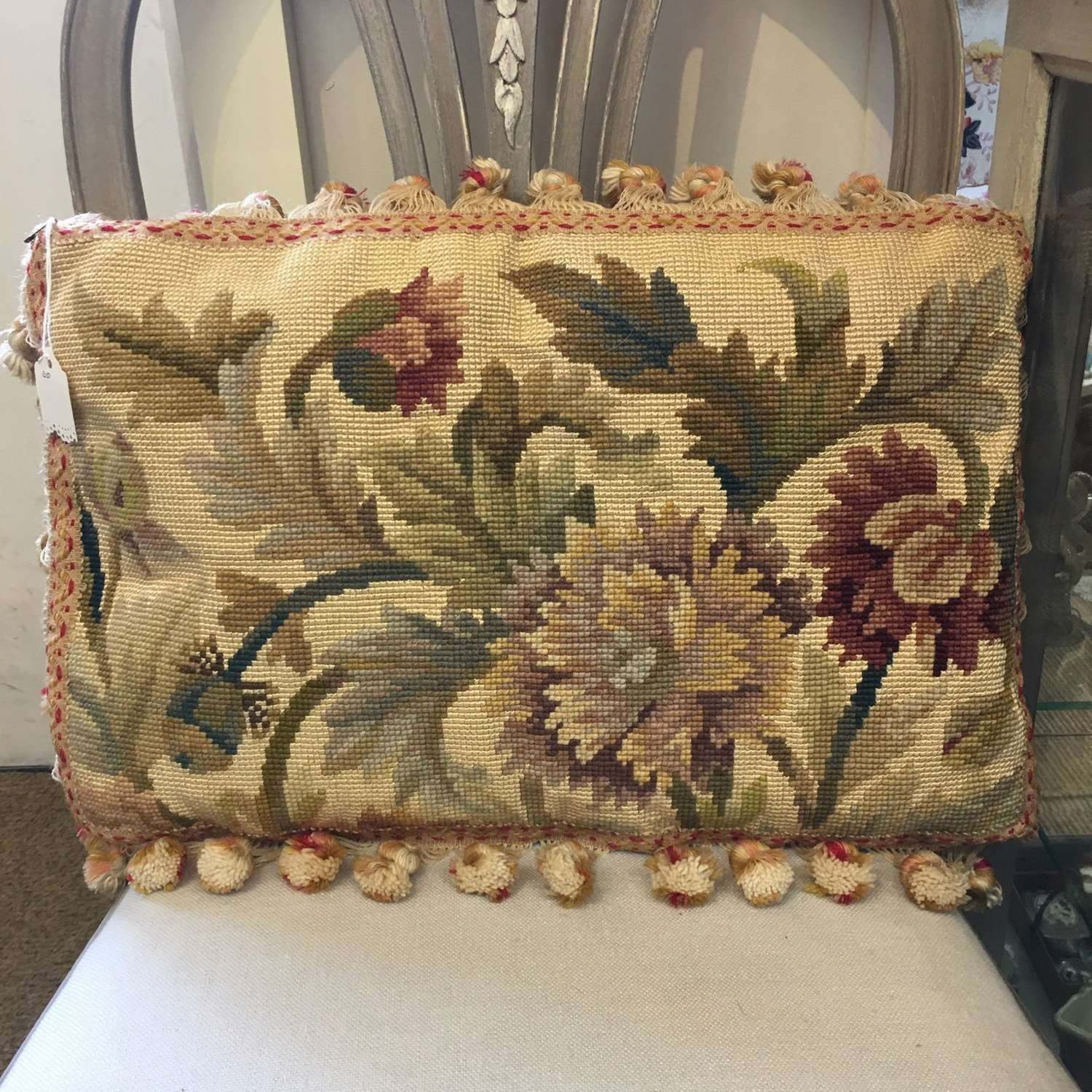 Aubusson tapestry cushion gold colour way