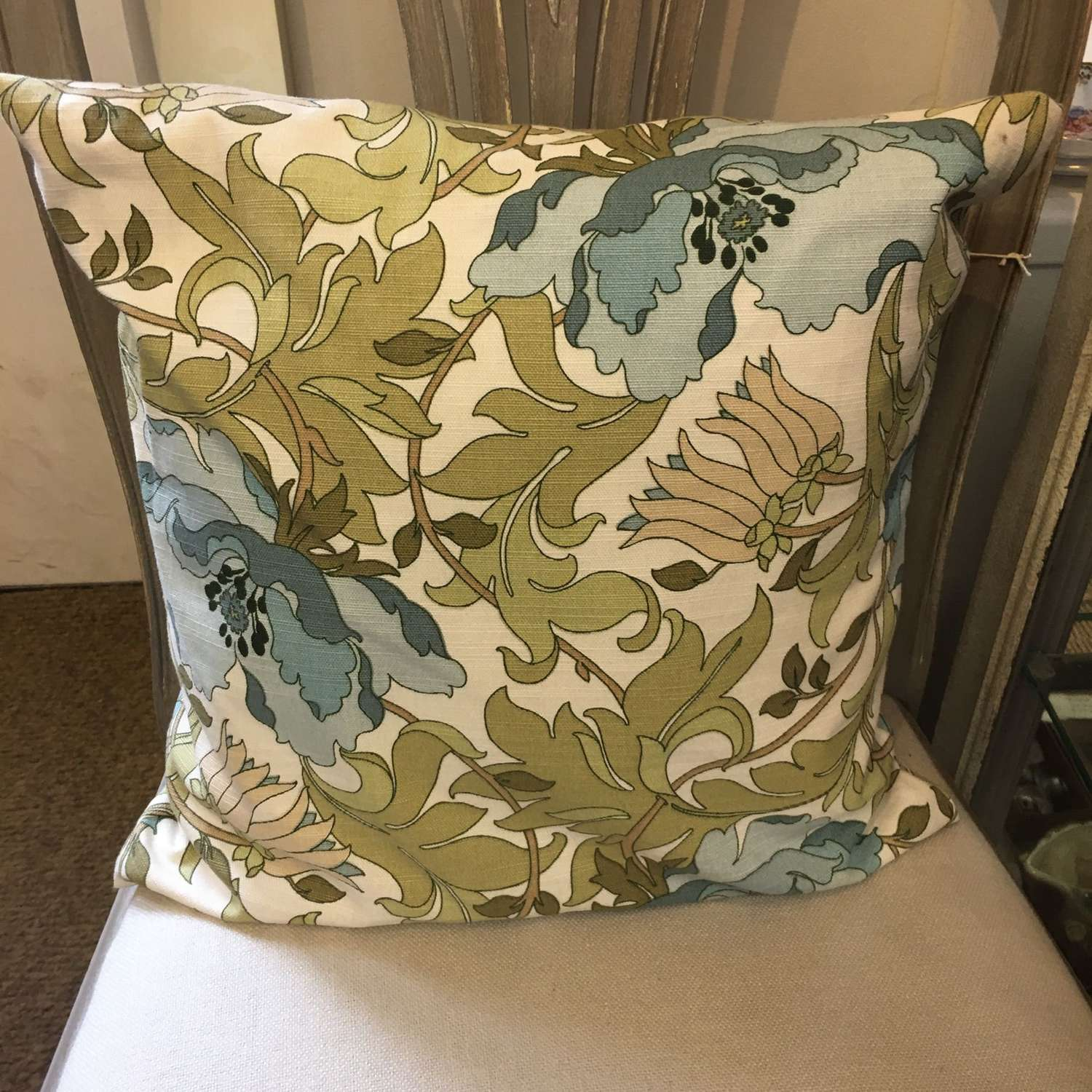 Square green and white floral cotton cushions  (2 available)