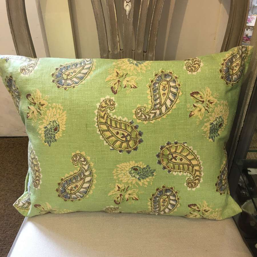 Green linen/cotton mix paisley cushion (2 available)
