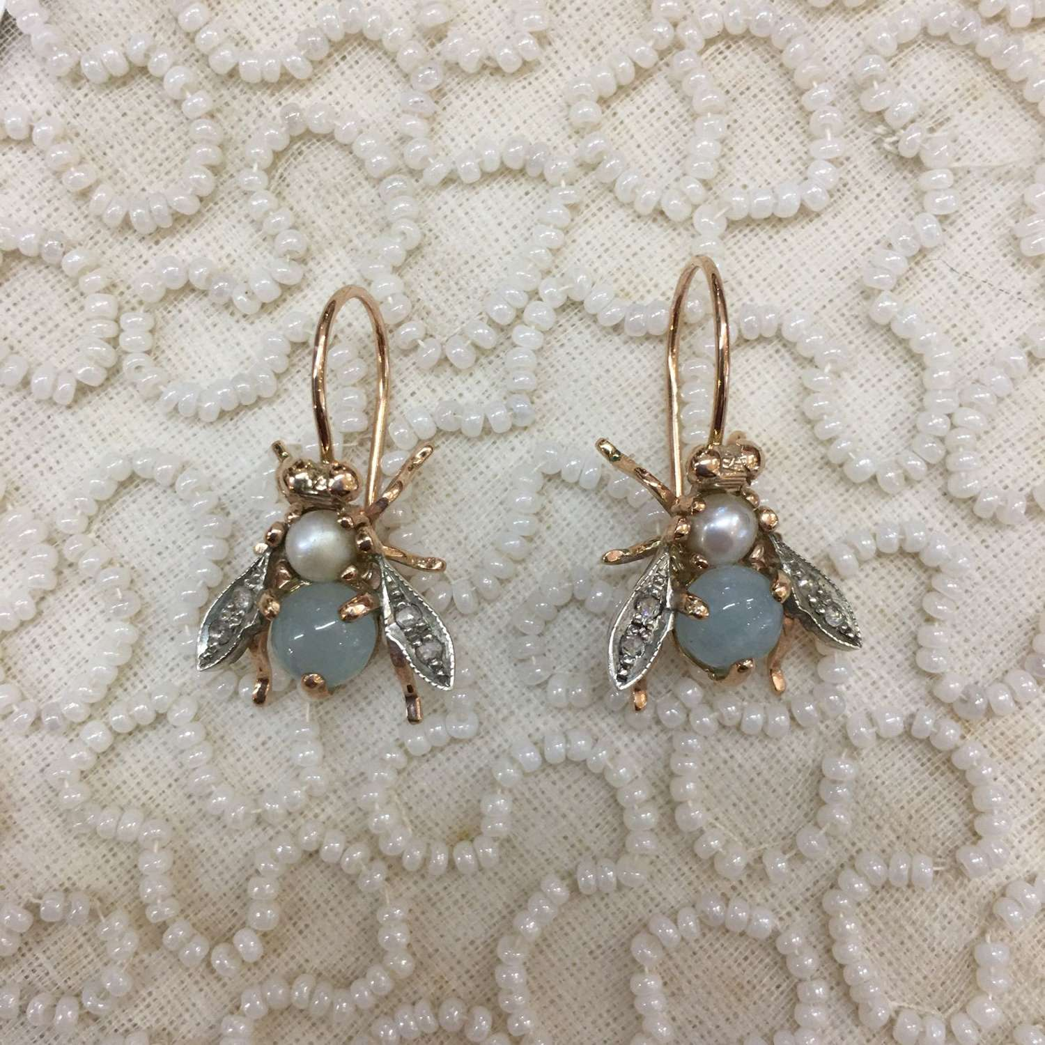 Rose gold bee earrings with aquamarine, pearls and diamonds