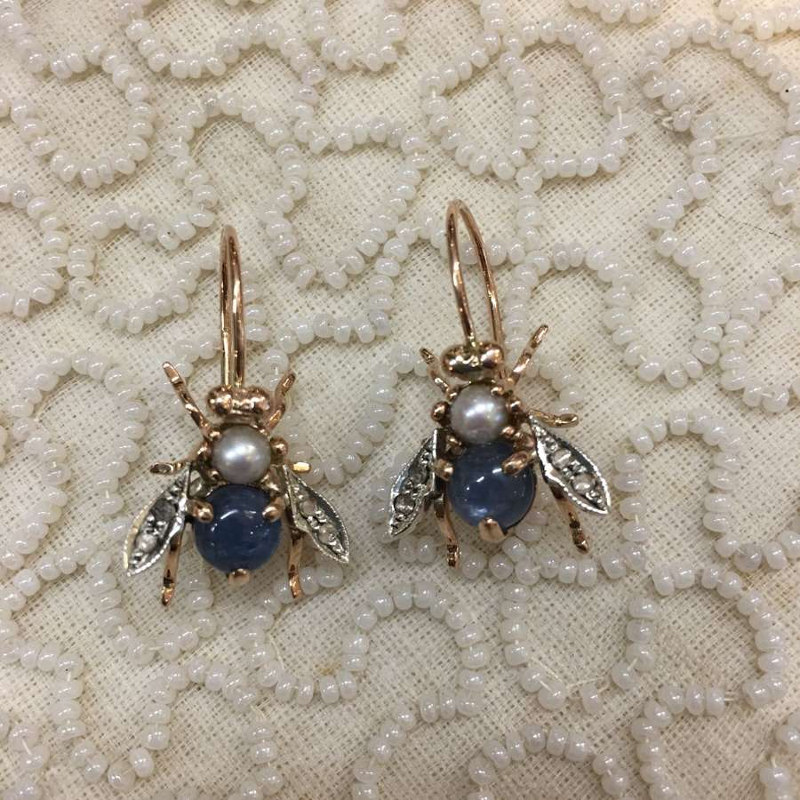 Rose gold bee earrings with pearls, kyanites and diamonds