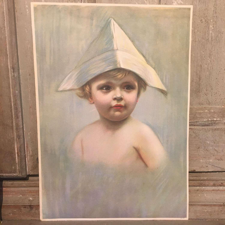 Vintage print of boy in paper boat hat
