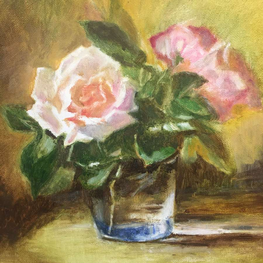 Oil of roses on canvas