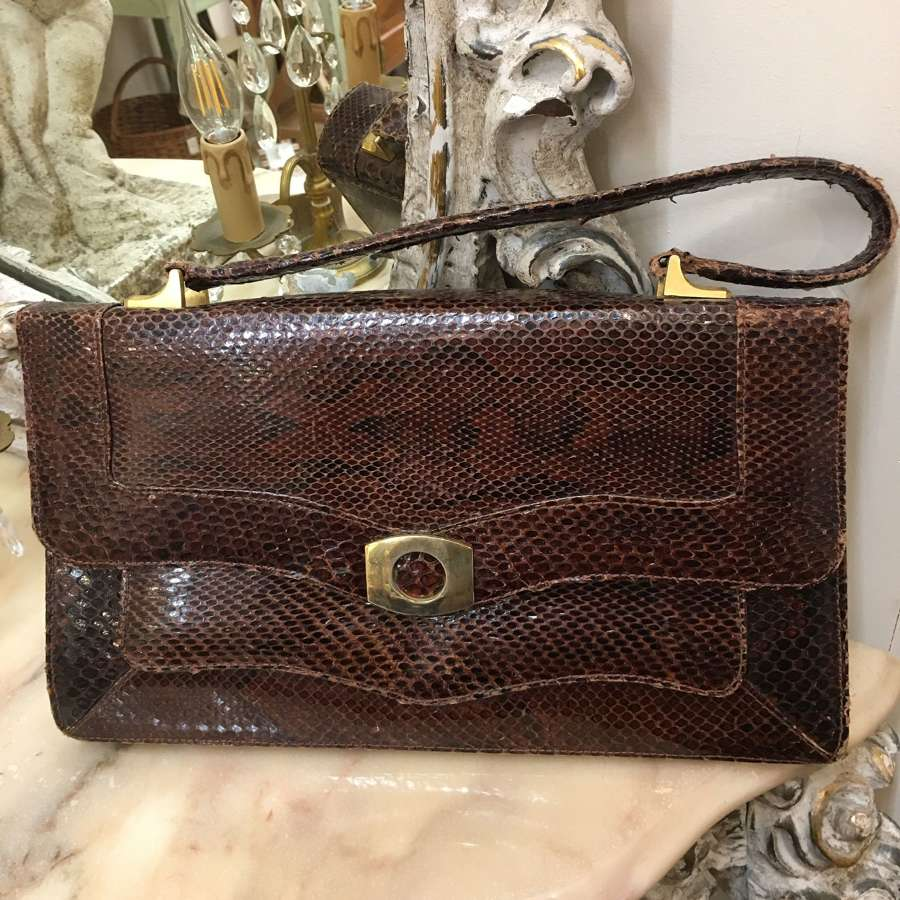 Vintage brown snakeskin handbag