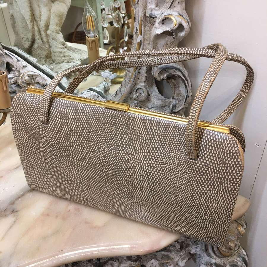 Vintage beige skin effect leather handbag