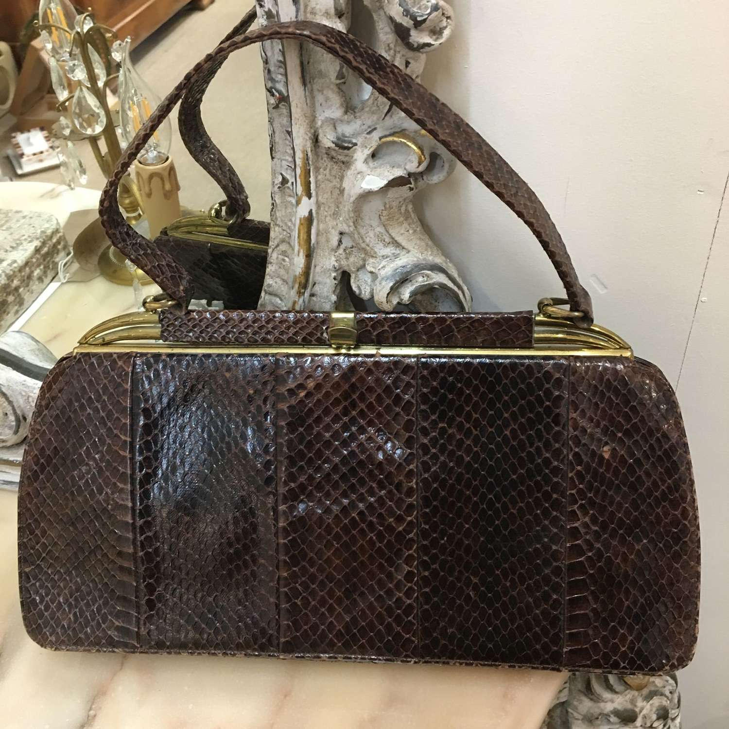 Dark brown vintage snakeskin handbag