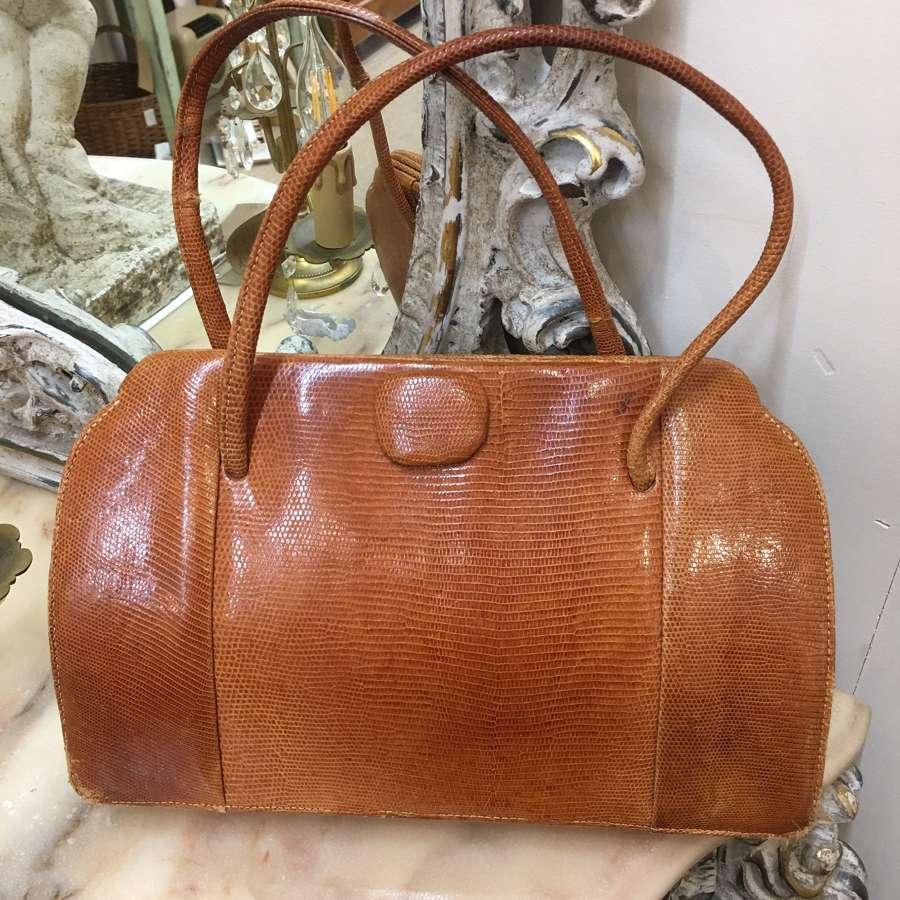 Vintage tan snakeskin handbag