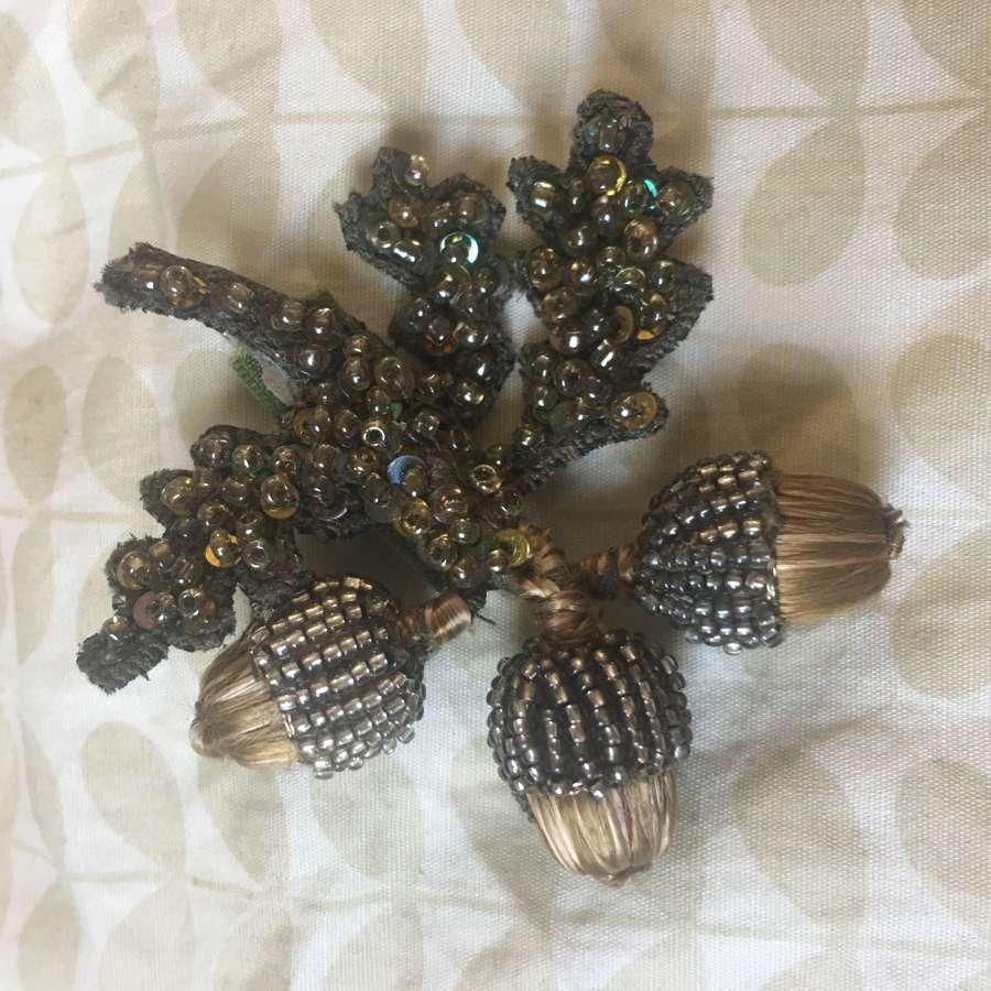 Acorn brooch with three beaded acorns