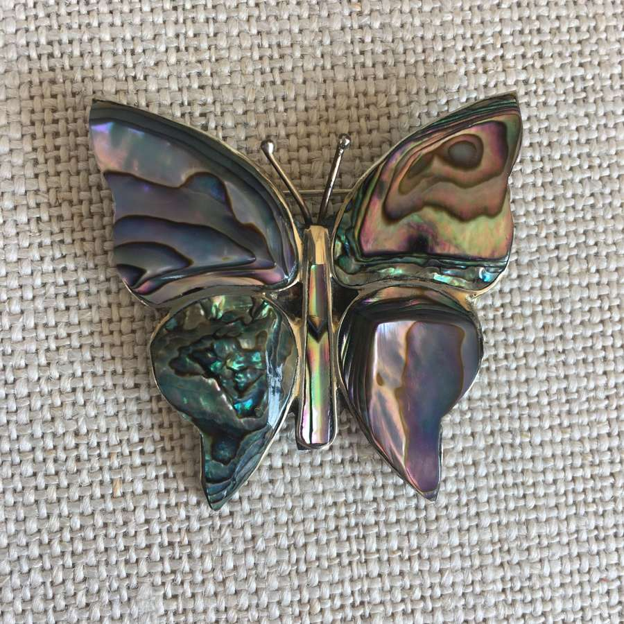 1970s silver and abalone shell butterfly brooch