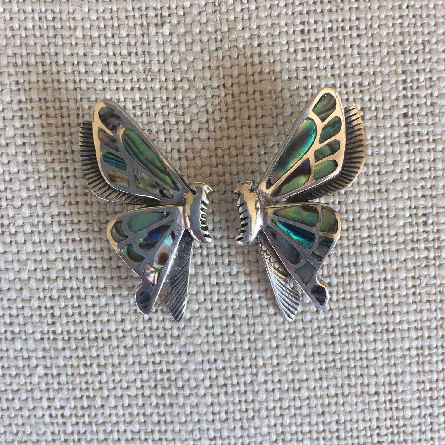 1970s silver and abalone shell butterfly earrings