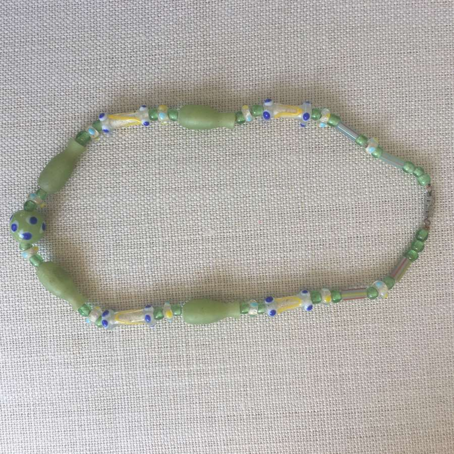 Vintage green blue glass bead necklace