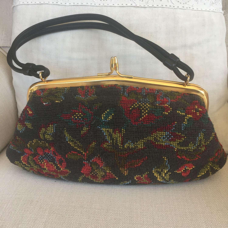 Vintage 1950s tapestry handbag