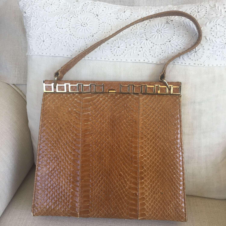Vintage Hamilton tan snakeskin bag