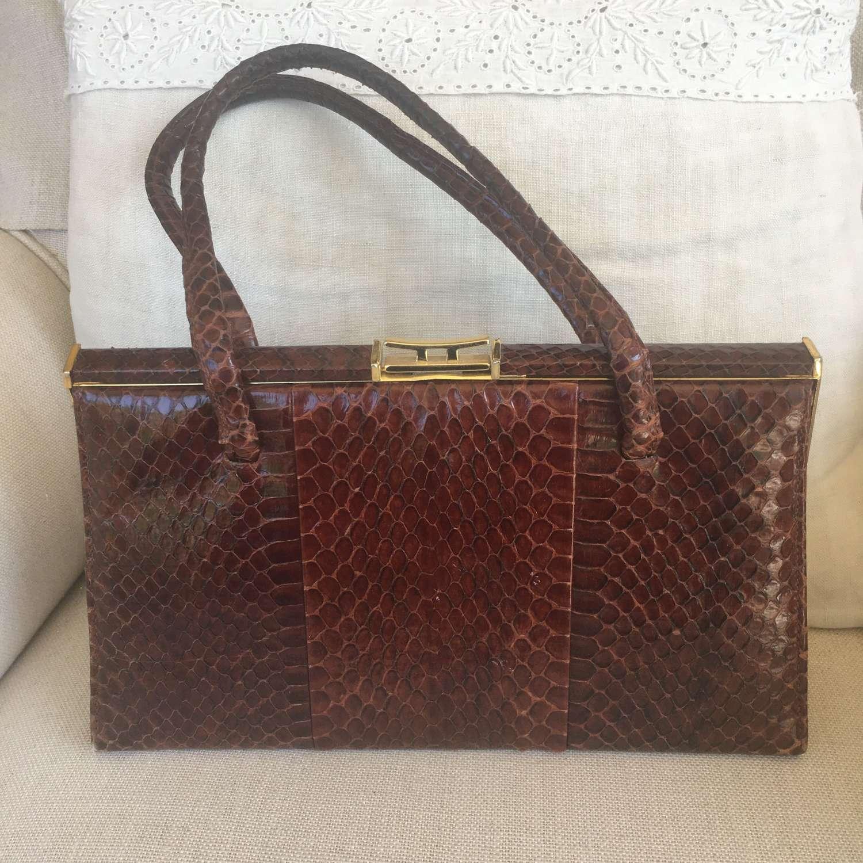 Jane Shilton vintage brown snakeskin handbag