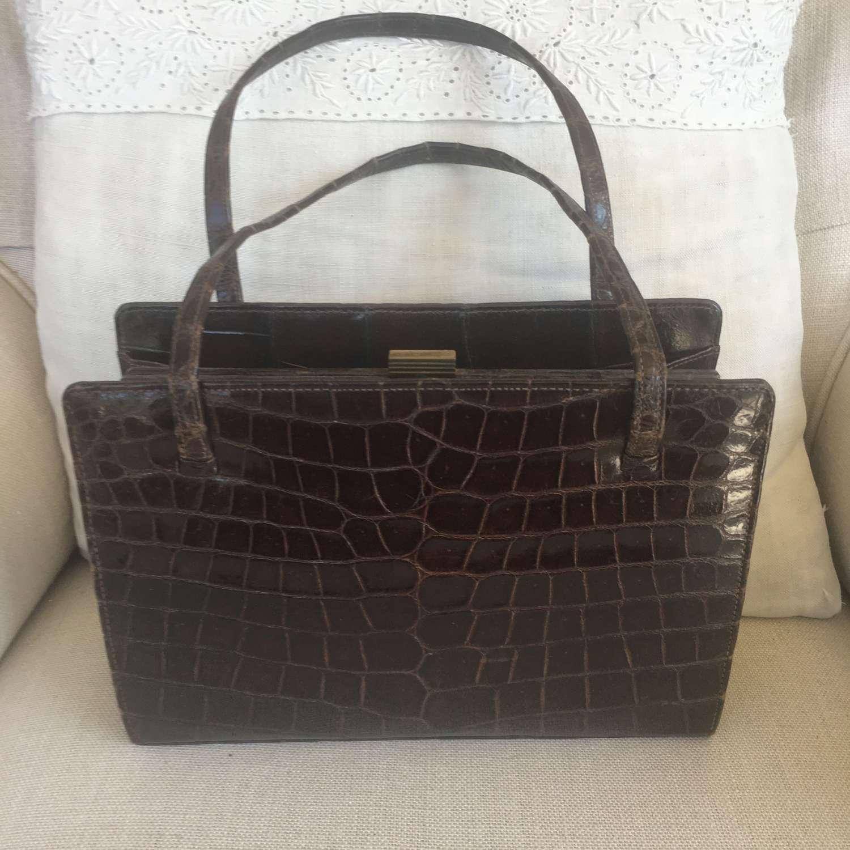 Vintage dark brown crocodile handbag