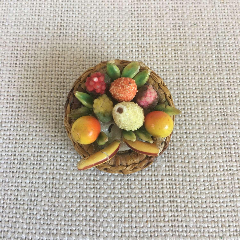 Vintage round fruit basket brooch 1950s