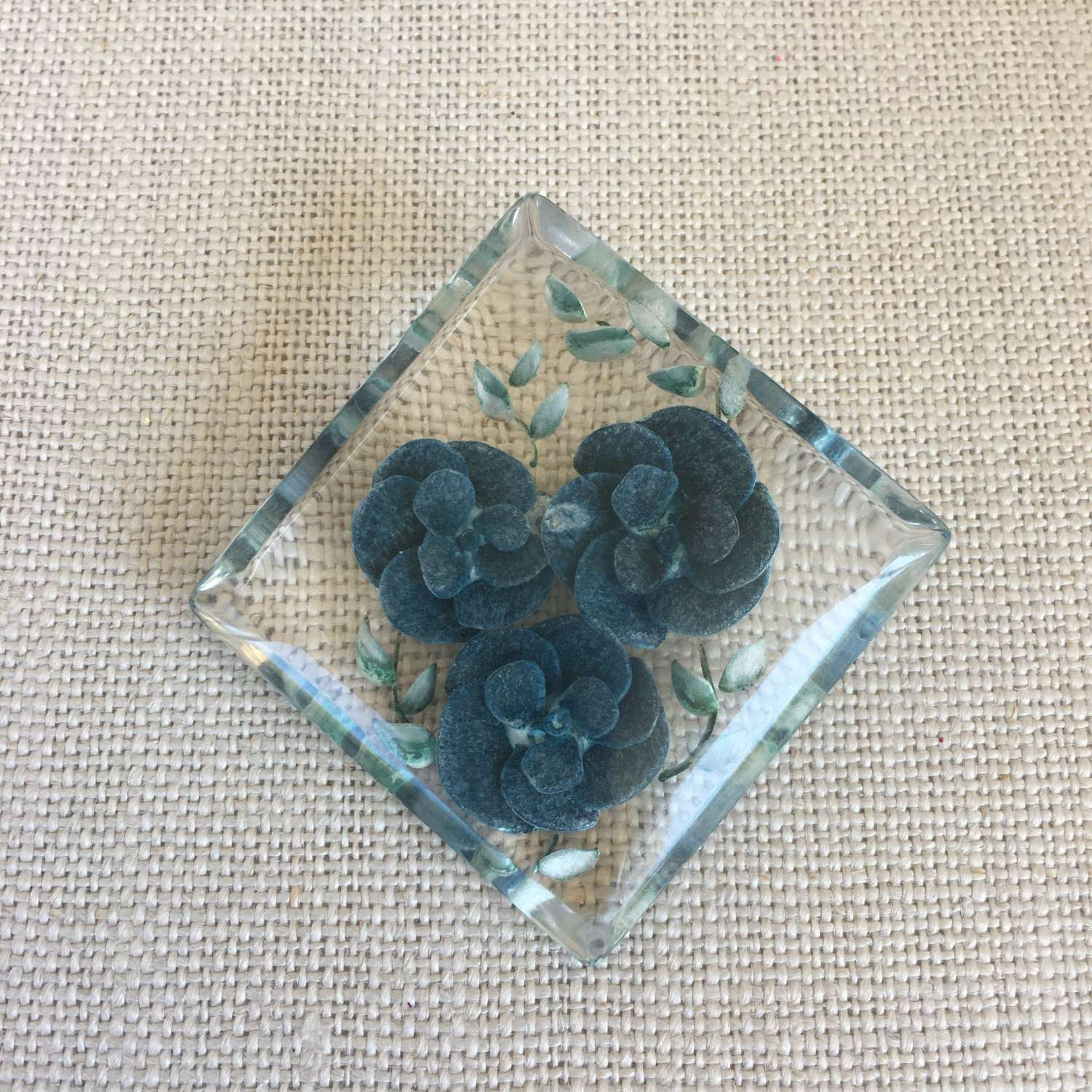 Vintage lucite brooch with blue flowers