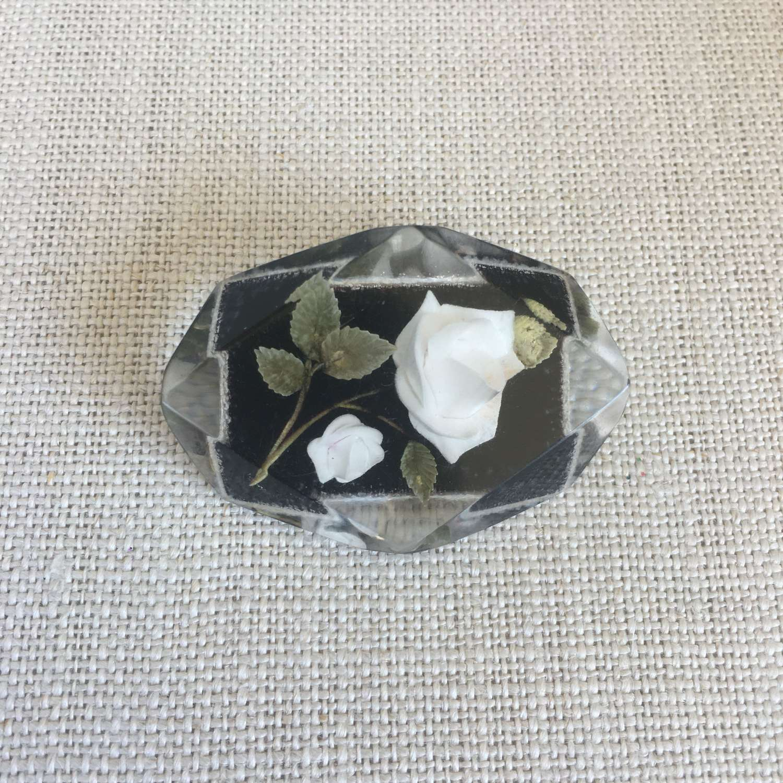 Vintage lucite black and white rose brooch