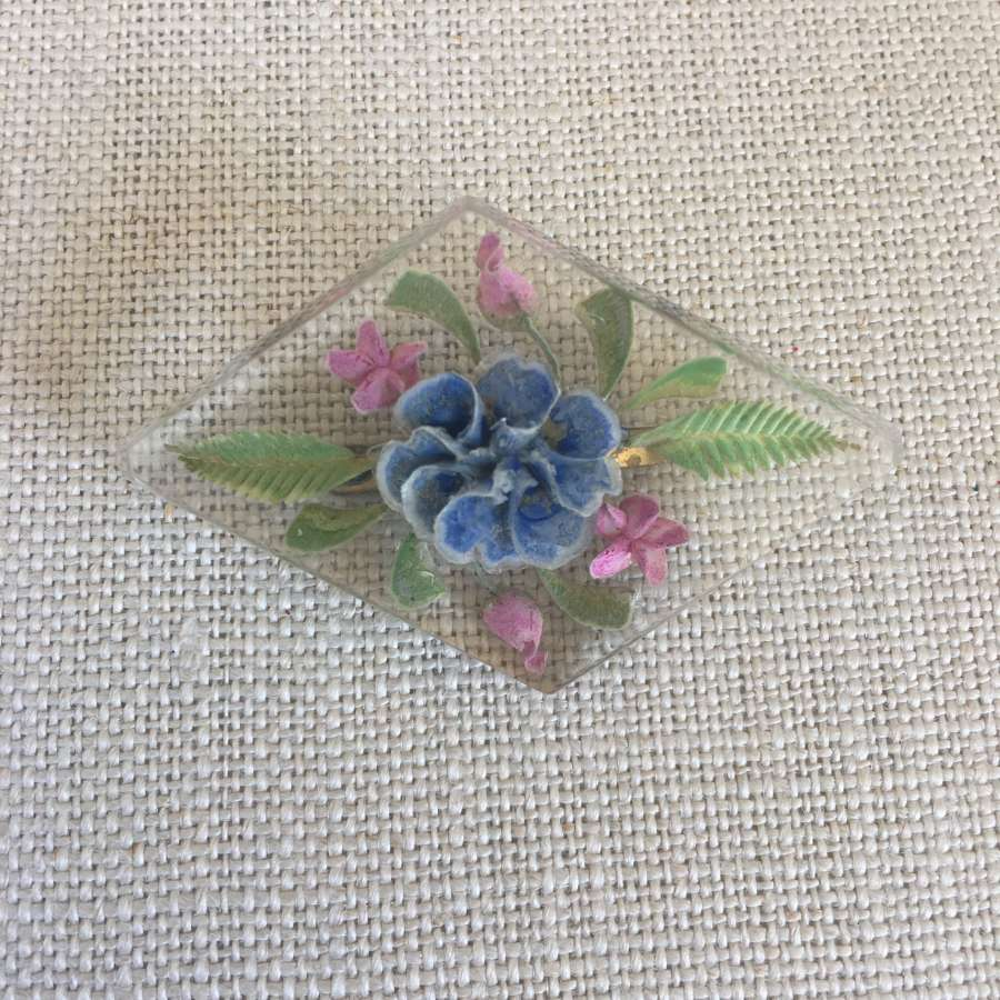 Vintage diamond shaped lucite floral brooch