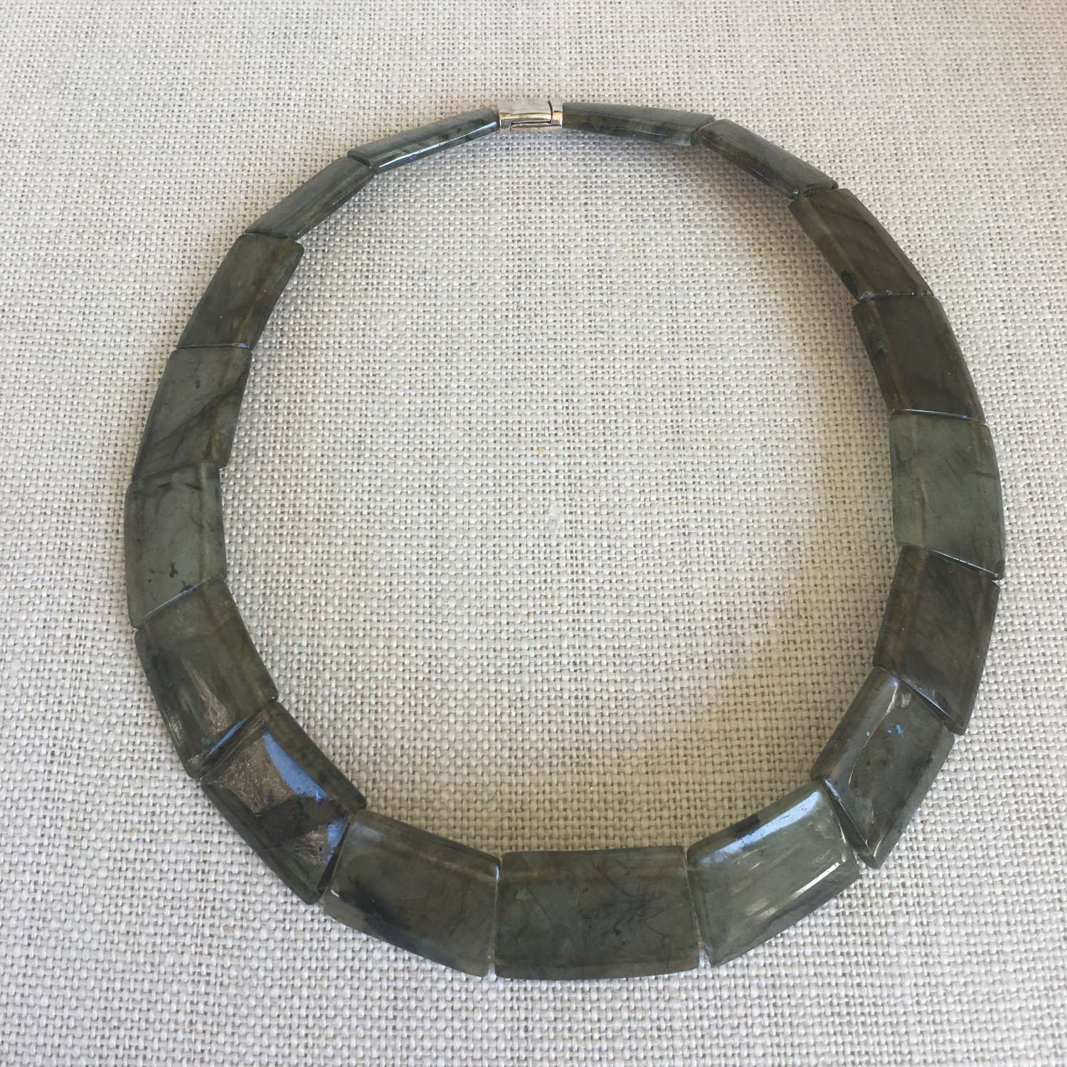 Hand carved labradorite collar silver clasp