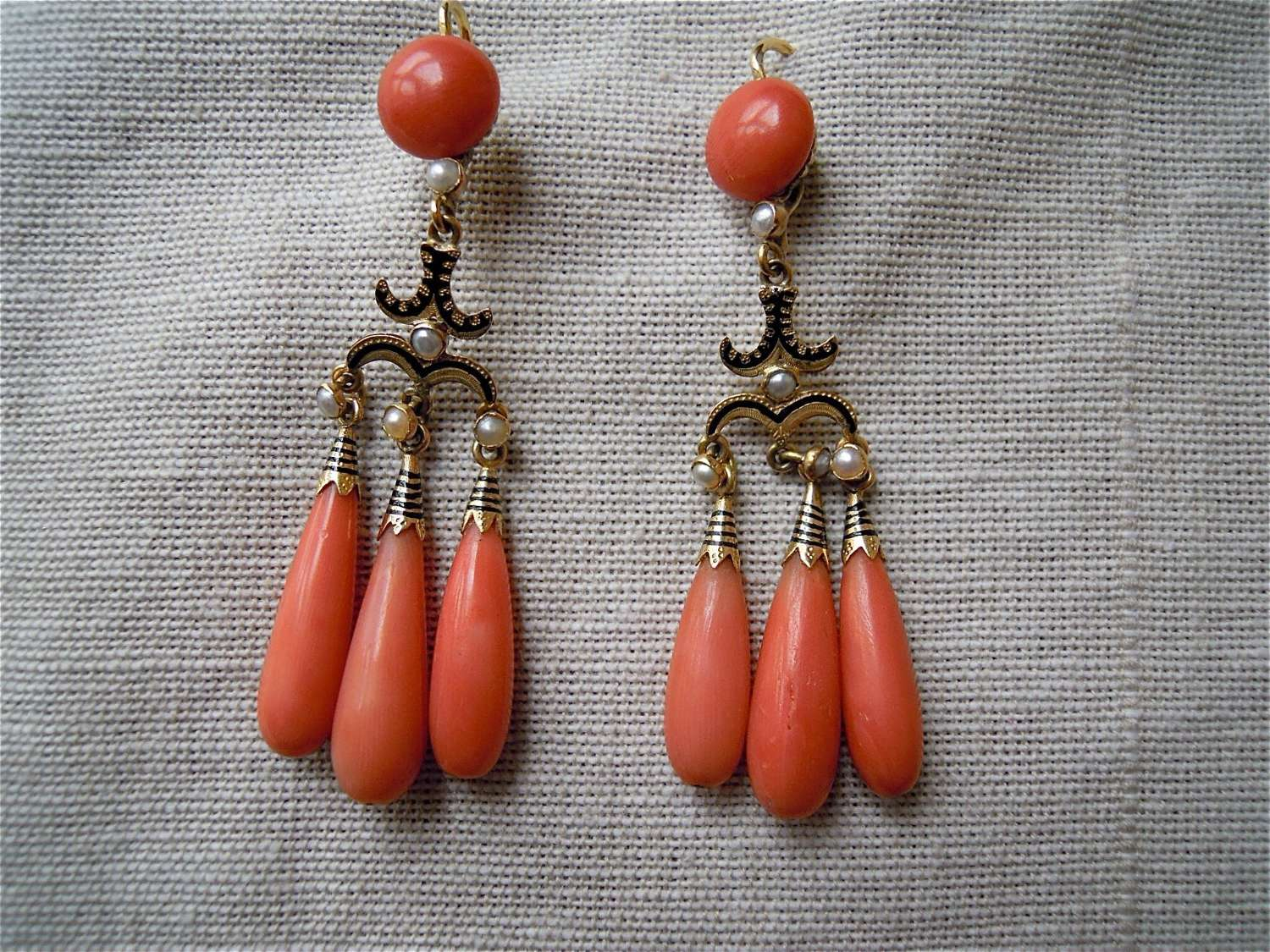 Antique coral, pearl and enamel girandole earrings