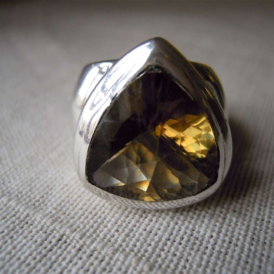 Modern chunky silver tourmaline ring