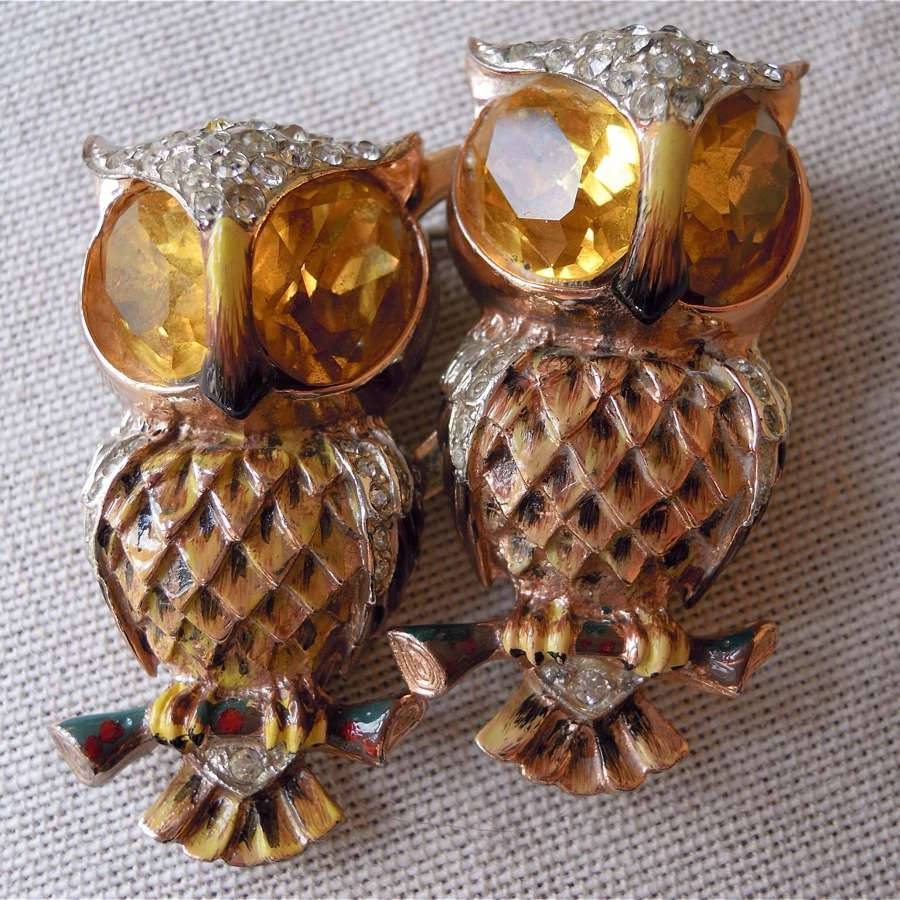 Vintage Corocraft vermeil owl brooch/dress clips and earrings