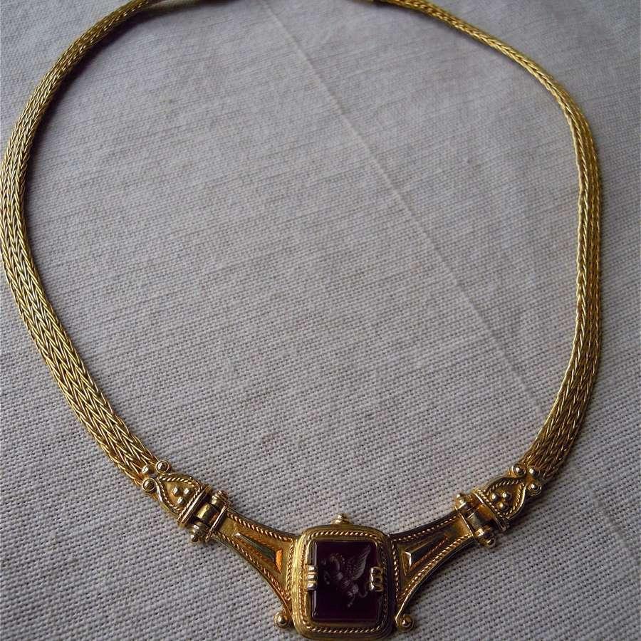 18ct gold carnelian horse intaglio necklace