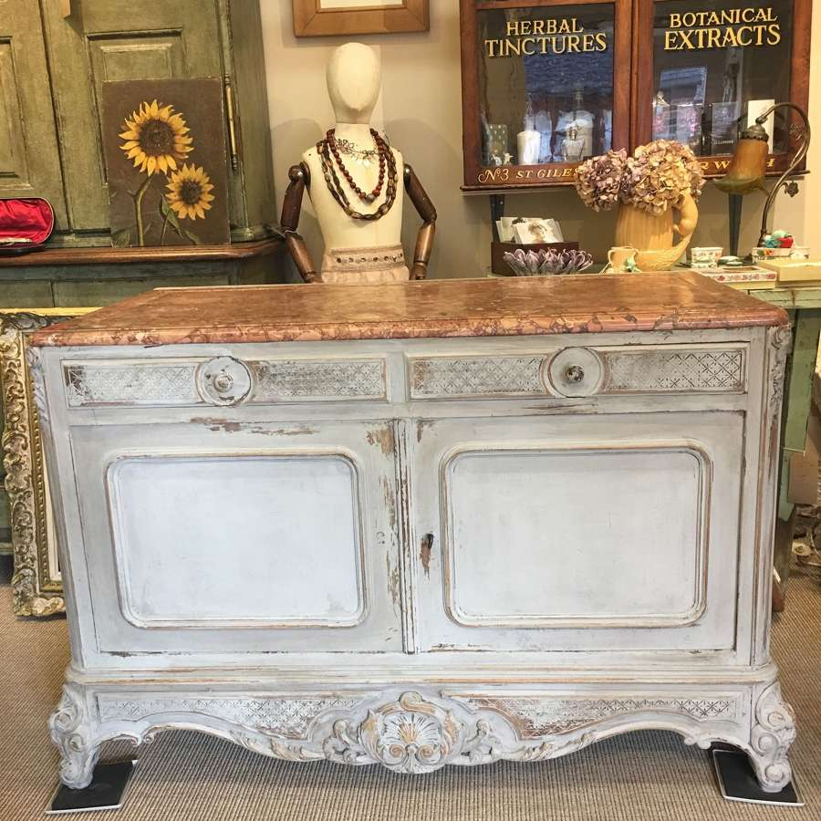 Antique French marble topped chest of drawers