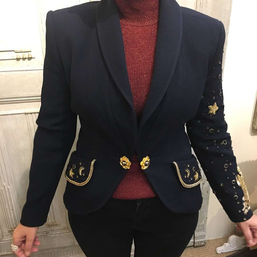 Bruce Oldfield custom made beaded navy jacket UK size 10