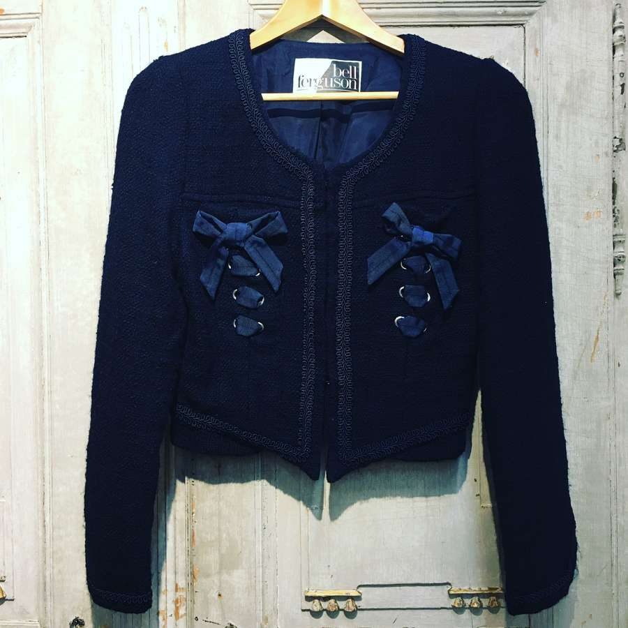 Blue wool Chanel style jacket by Belle Ferguson