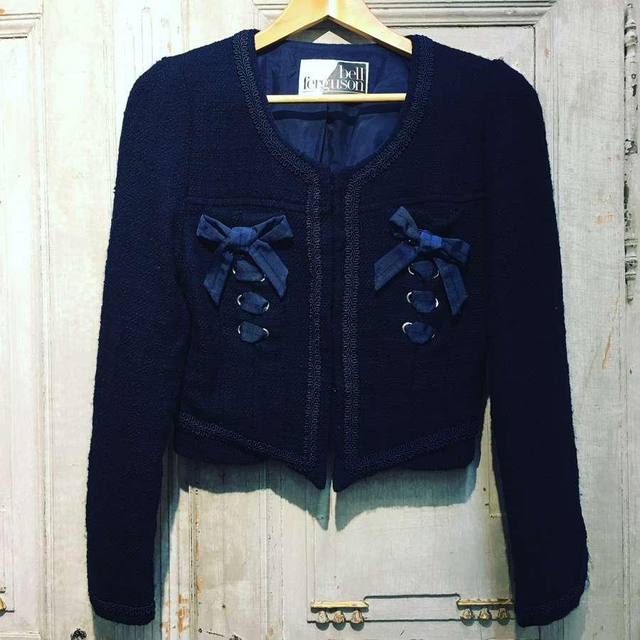 Blue wool Chanel style jacket by Belle Ferguson