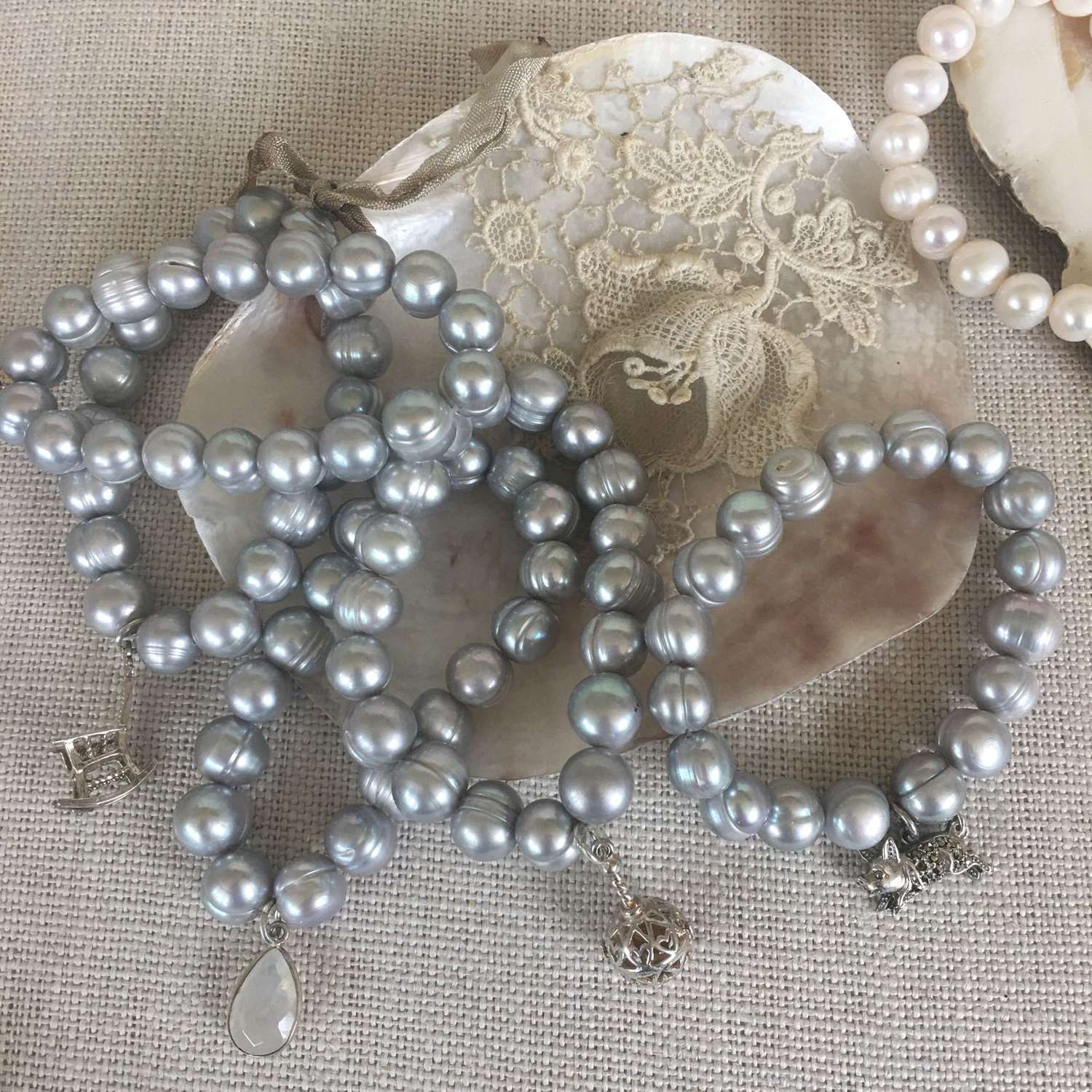 Elasticated grey freshwater pearl bracelets