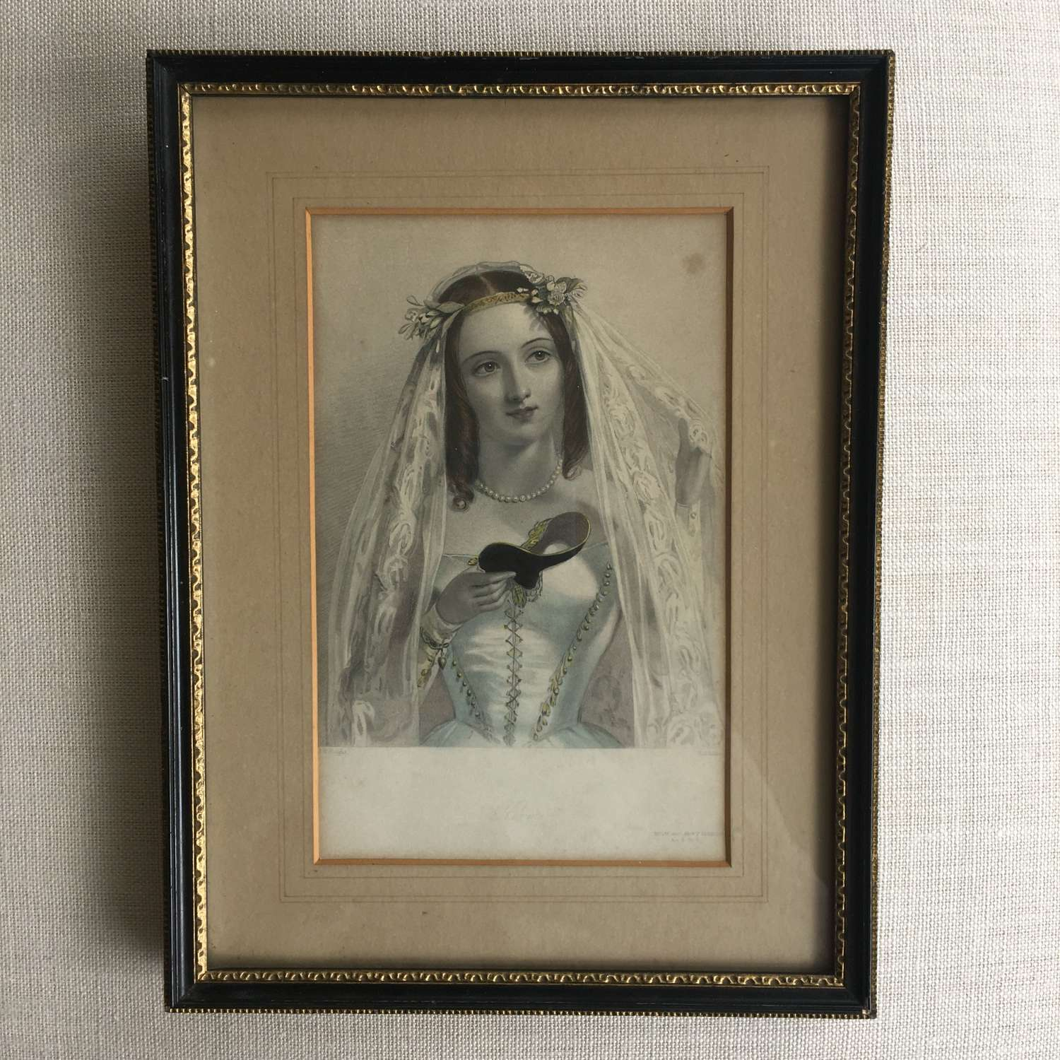 Framed antique print of Hero (Much ado about nothing), original frame