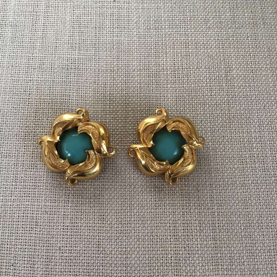 Vintage Fendi turquoise clip earrings