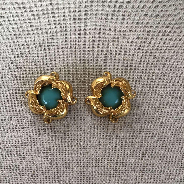 Vintage Fendi turquoise clip earrings