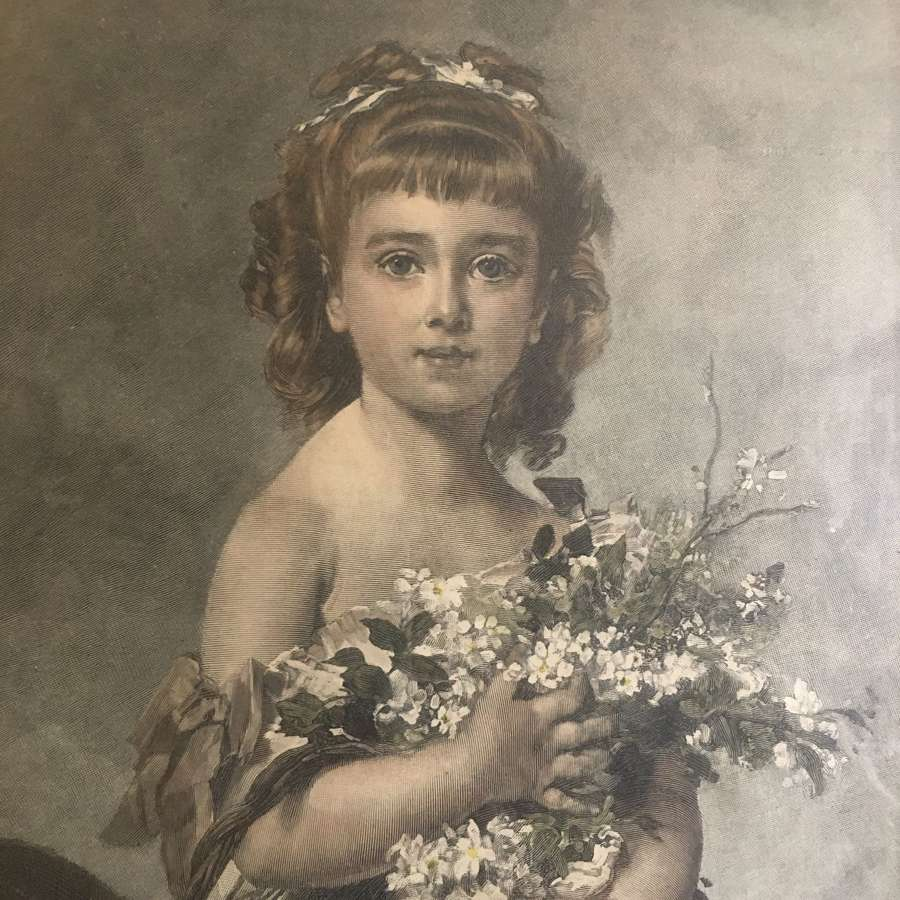 Antique hand-coloured print of girl 1881