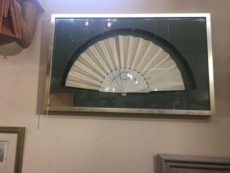 Box framed cream vintage fan