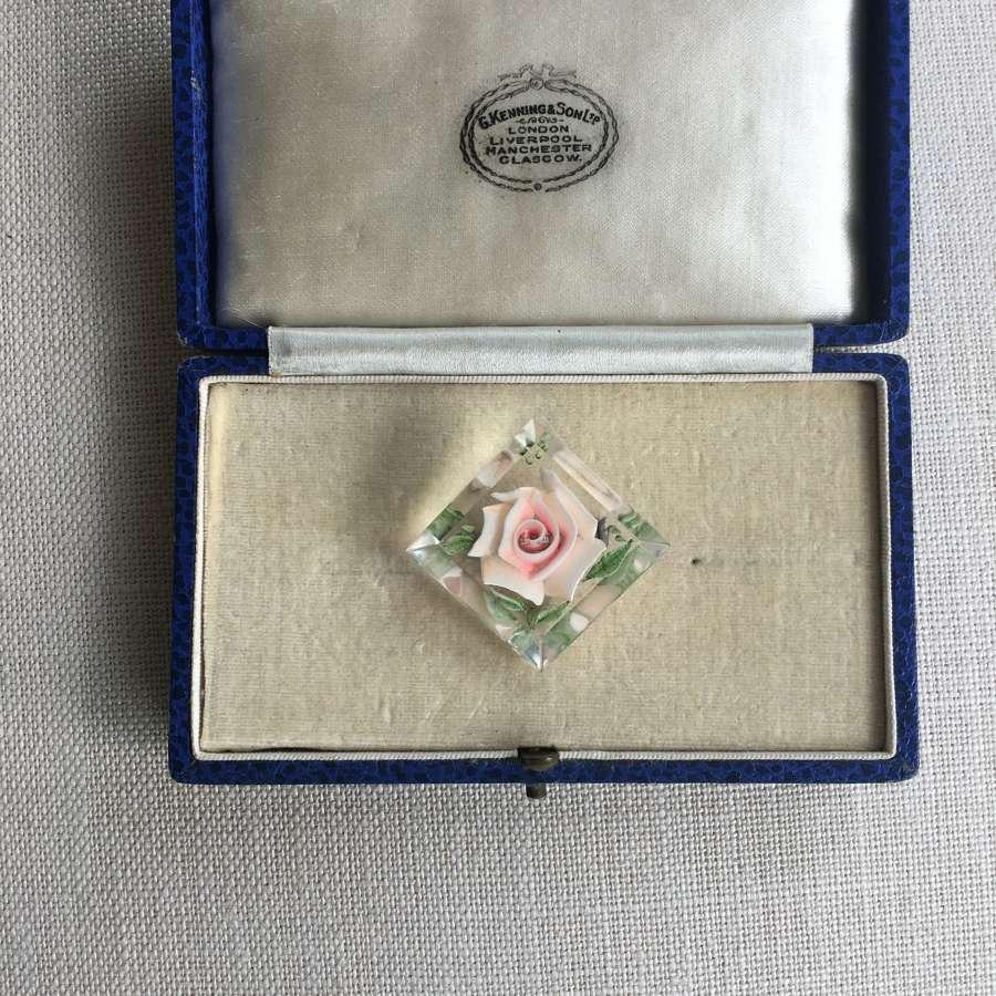 Vintage lucite brooch pink rose