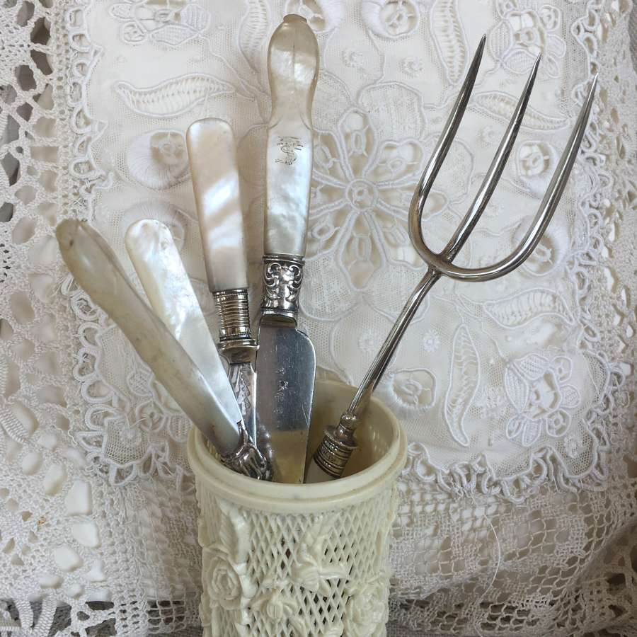 Silver and silver plated mother of pearl cutlery