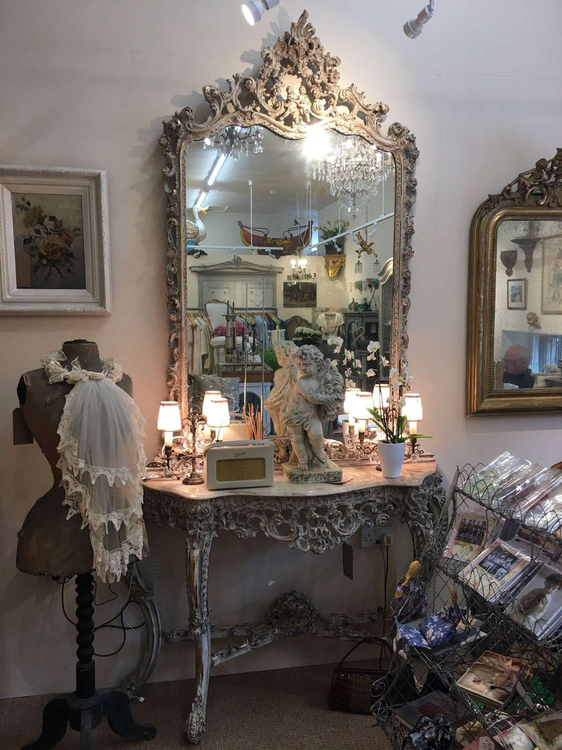 Italian gilded, painted wooden mirror and console table c 1920