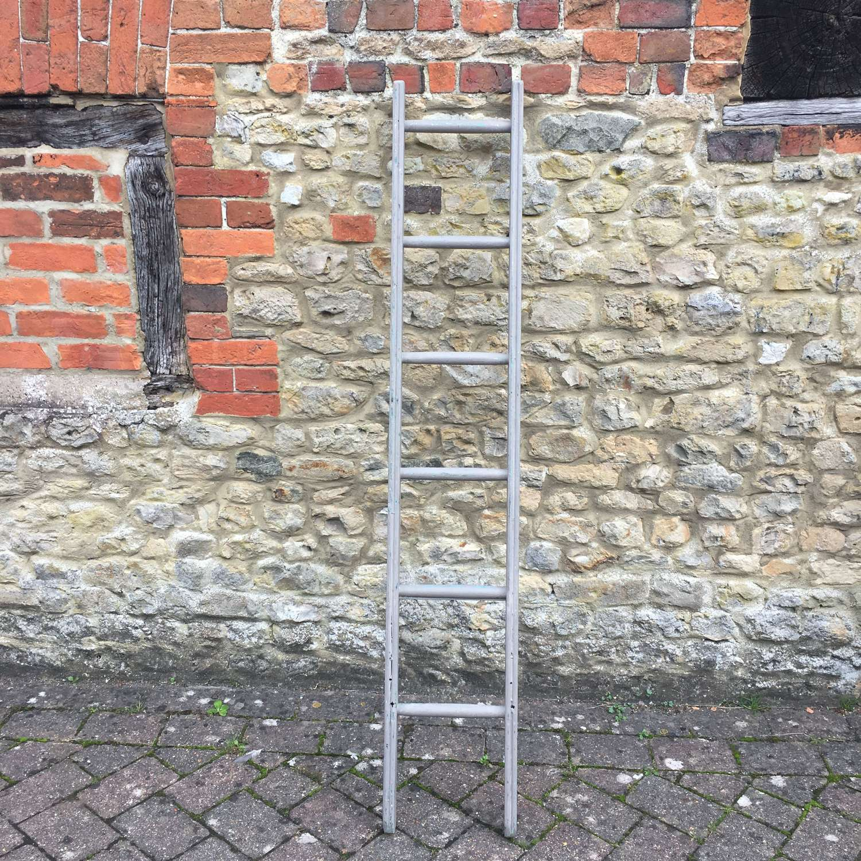 Vintage dark grey painted ladder