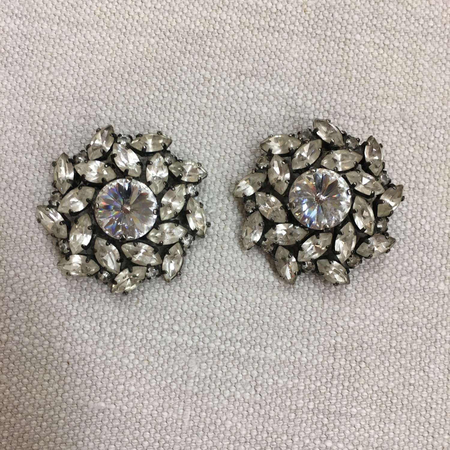Vintage Butler & Wilson paste clip earrings
