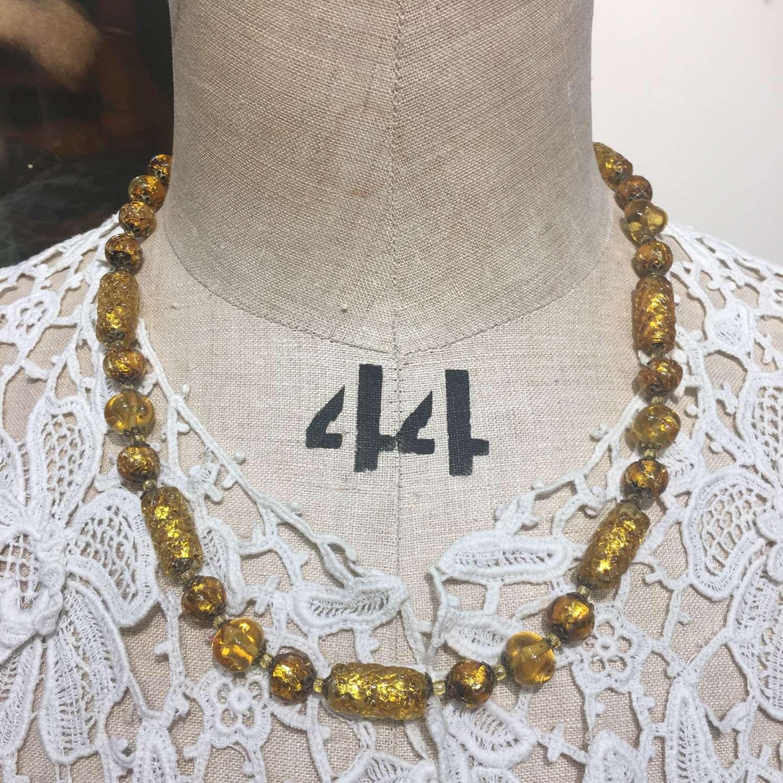 Vintage gold foil glass bead necklace