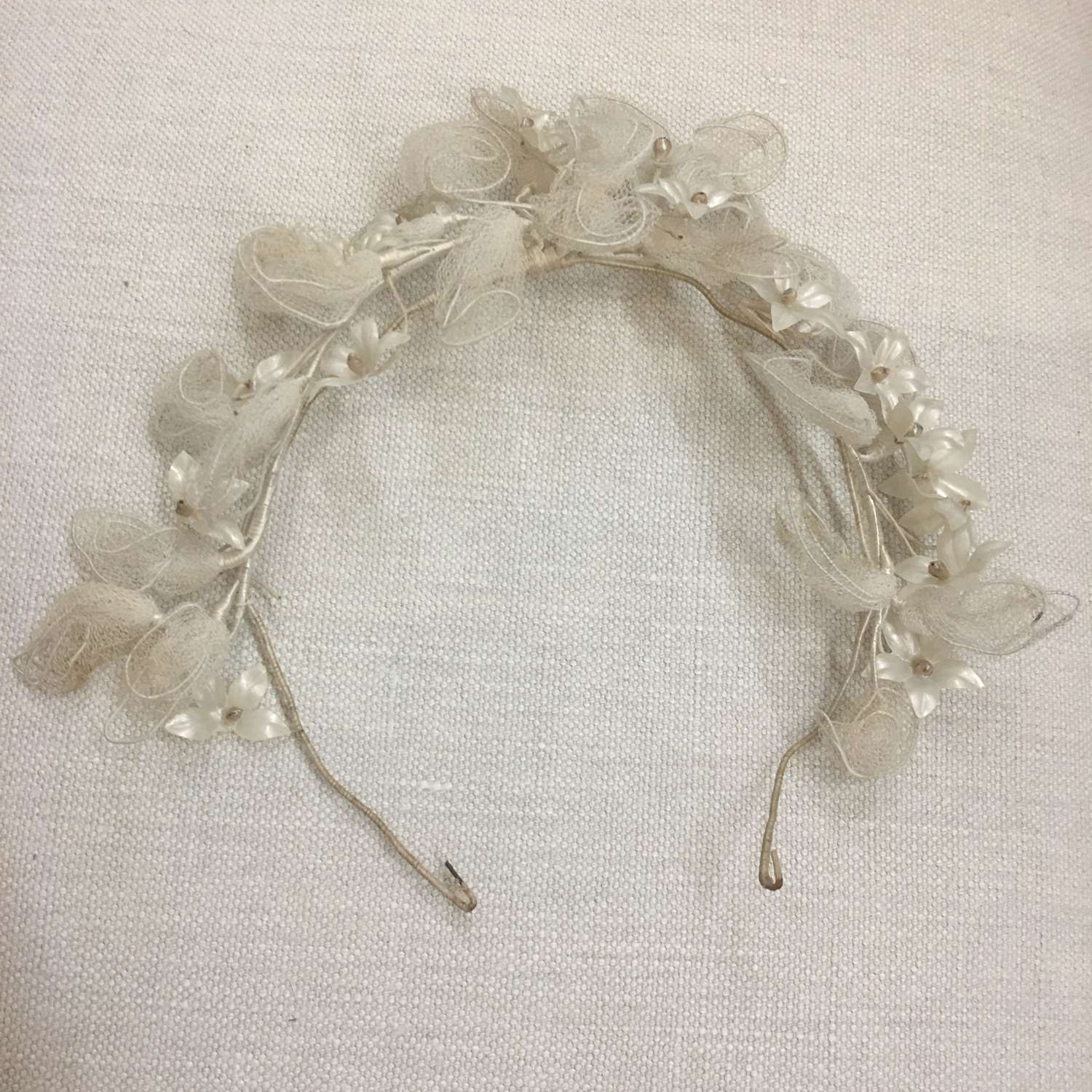Antique French wedding headdress
