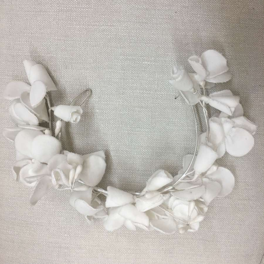 Vintage 1970s white velvet flower wedding headdress