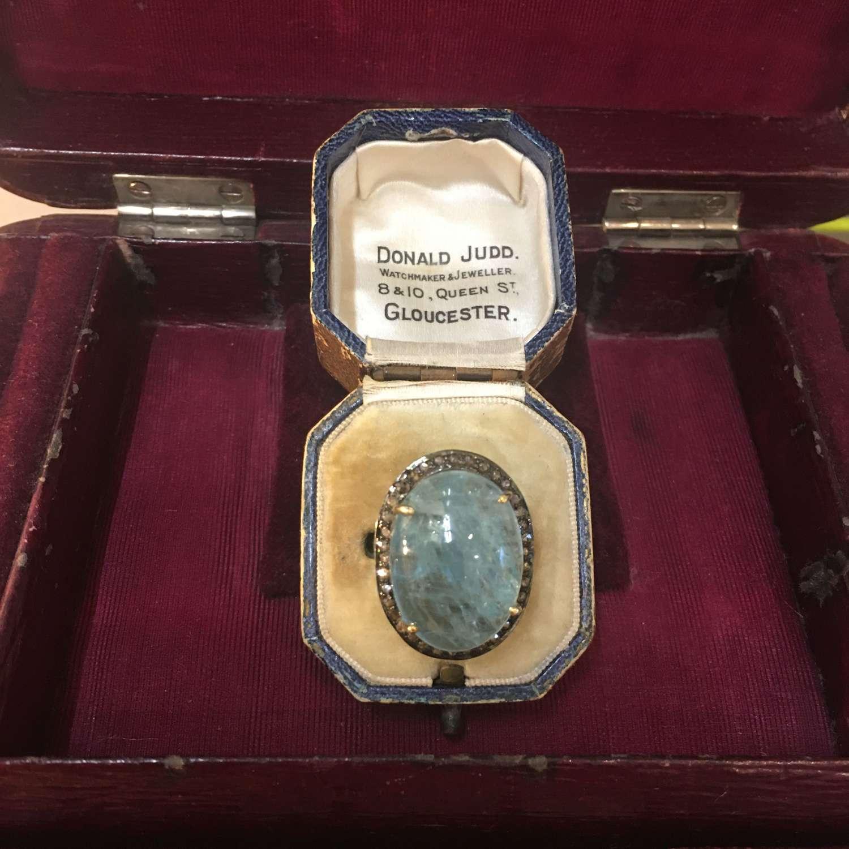 Vermeil aquamarine and diamond ring