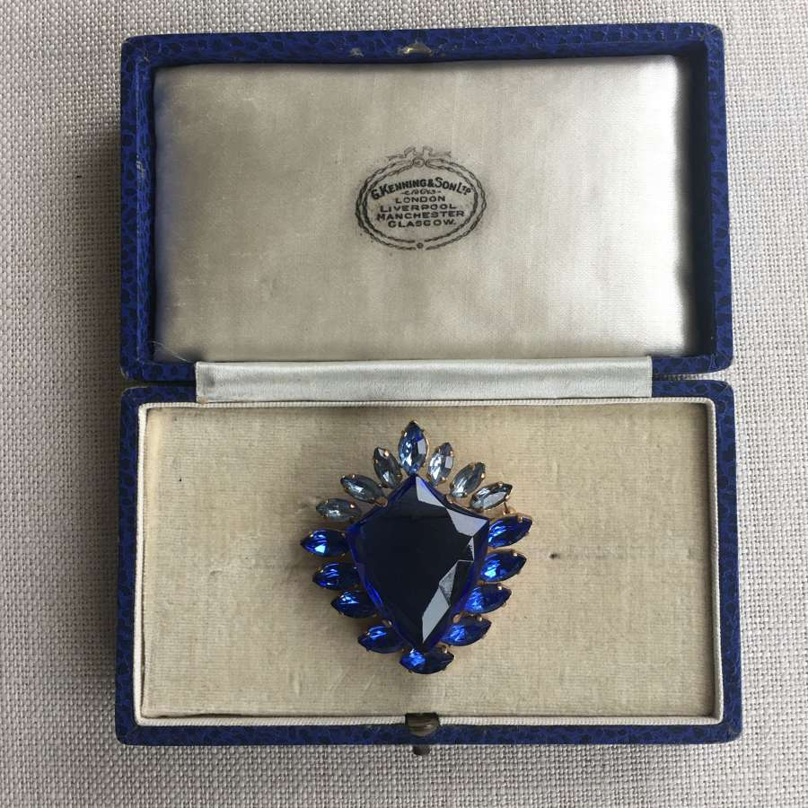 Vintage 1950's blue shield brooch