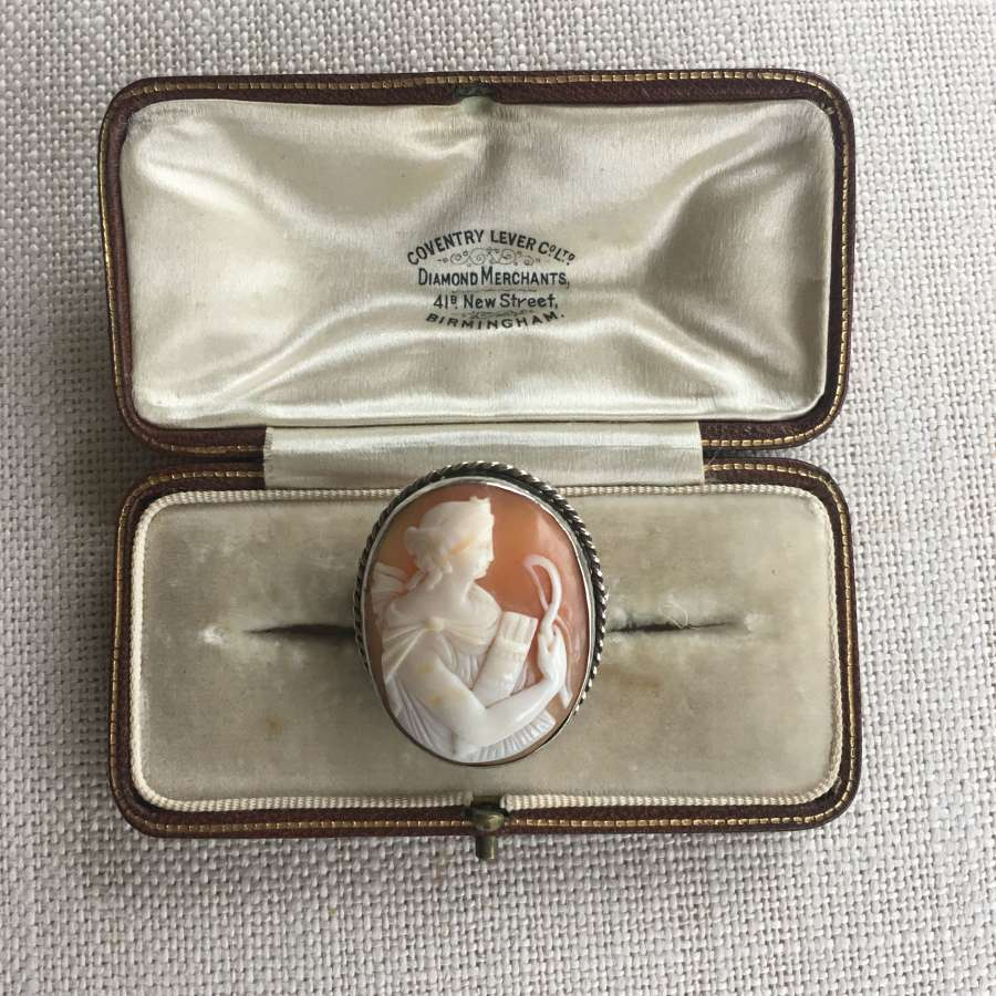 Silver shell cameo brooch Of Diana the huntress